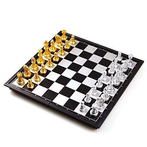 Schachspiel aus Holz Mittelalterliche Faltende Klassische Schach Set Mit Schachbrett 32 Stück Gold Silber Magnetische Schach Tragbare Reise Spiele Für Erwachsene Kind Spielzeug (Color : with Box)
