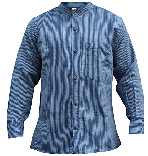 Shopoholic Fashion Herren-/Hippie-/Großvaterhemd, gestreift Gr. XXL, navy