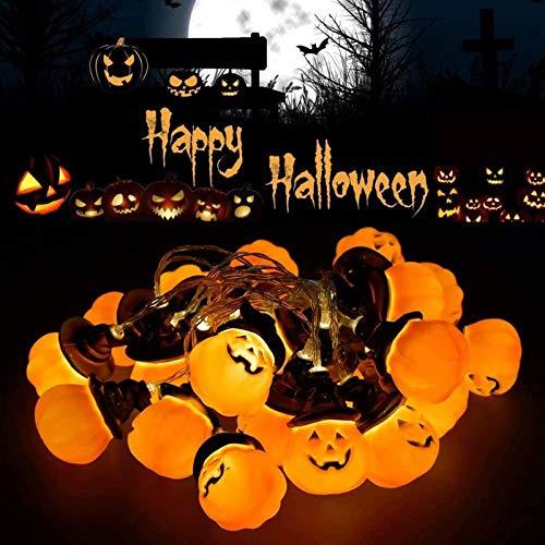 AMANKA 3M Luci Zucca Halloween Catena Luminosa,3D Luce Decorative Zucca Cappello Strega Luci della Stringa per Alimentazione a Batteria[Non Include],per Halloween,Festa Cosplay e Casa Infestata