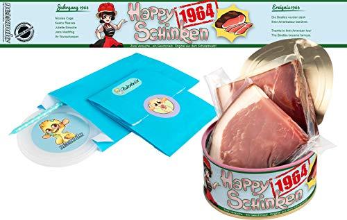Happy Schinken | 200 Gramm Schwarzwälder Schinken in der Dose | Personalisiert mit Wunsch- Geburtsjahr und Namen | Geburtstagsgeschenk | Geschenk | Geschenkidee (1964)