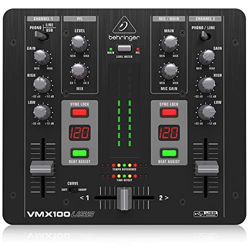 Behringer Pro Mixer VMX100USB 2-Kanal DJ Mixer mit integriertem USB/Audio Interface, BPM Counter und VCA Crossfader