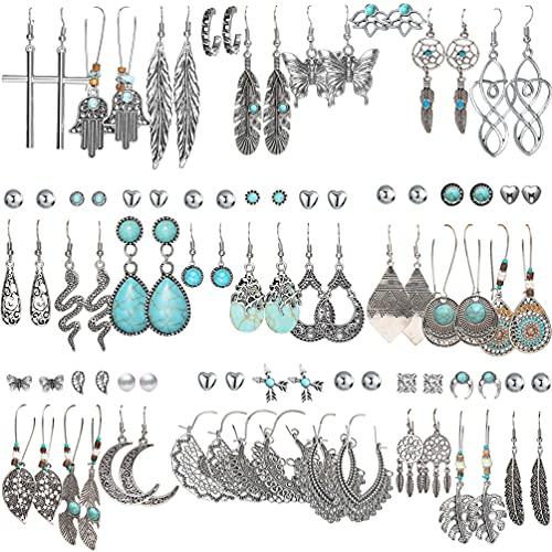 45 Pairs Bohemian Silver Drop Dangle Earrings Set for Women/Girl, Hypoallergenic Fashion Vintage Bronze Waterdrop Dangling Earrings Jewelry for Birthday/Christmas Gift