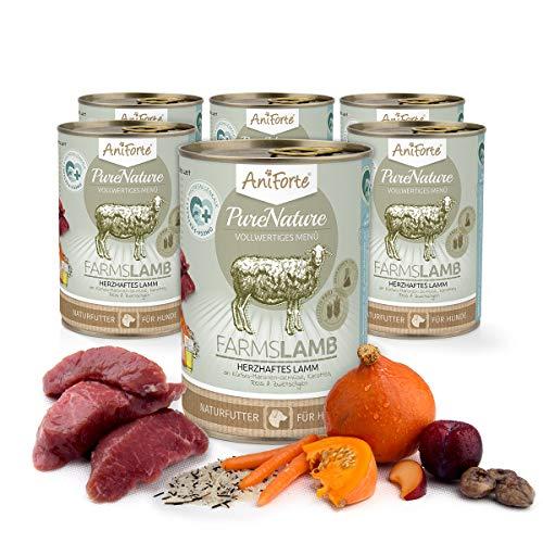 AniForte Hundefutter Nass Farms Lamb 6 x 400g – Nassfutter für Hunde, Frisches Lamm mit Gemüse & Früchten, hoher Fleischanteil, Natürliches Hundenassfutter mit Extra viel Fleisch, glutenfrei