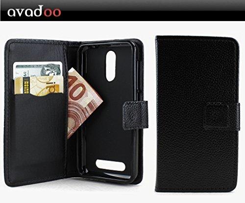 avadoo® Archos 45 Neon Flip Hülle Cover Schwarz Ledercase vernäht & mit doppelten Kartenschacht als Cover Tasche Hülle