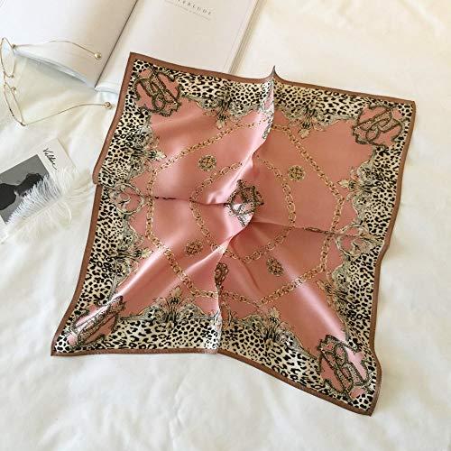 Zijde Women'S Sjaal Sjaal Vierkant Mode Zakdoek Luipaard Bloem Geometrische Patroon Vintage Elegante Temperament Eenvoudige Ademende Dun roze