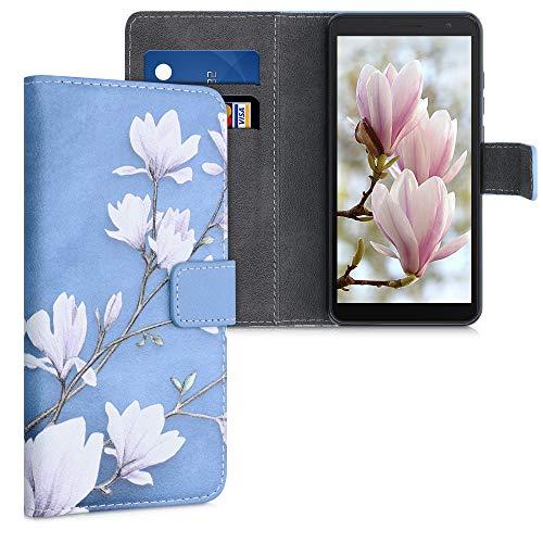 kwmobile Wallet Hülle kompatibel mit Alcatel 1B (2020) - Hülle mit Ständer Kartenfächer Magnolien Taupe Weiß Blaugrau