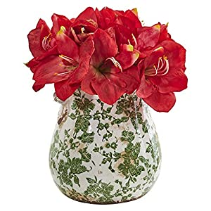 Nearly Natural 1873-RD Amaryllis Artificial Floral Print Vase Silk Arrangements Red