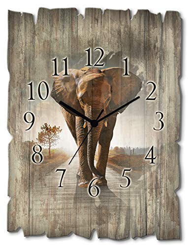Artland Wanduhr ohne Tickgeräusche aus Holz Quarz Uhr lautlos rechteckig 30x40 cm länglich Natur Afrika Safari Tiere Wildtiere Elefant Straße T9QO