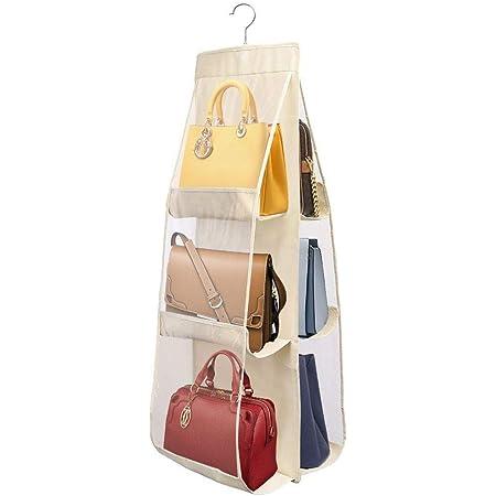 PIKACHENG Sac de rangement pour sac à main suspendu, sac de rangement pour placard avec crochets 6 sacs de rangement pour poches respirants, placard transparent anti-poussière (jaune clair)
