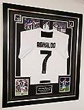 Signedmemorabiliashop - Camiseta de la equipación de F.C. Manchester United de la Champions League enmarcada y firmada por Cristiano Ronaldo