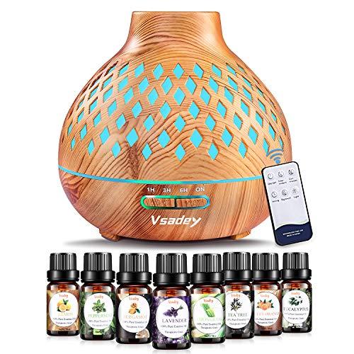 Vsadey Difusor de Aceite Esencial 400ml con 8 Top Aceites Esenciales, Difusor de Aromaterapia con Humidificador Ultrasónico con 7 Colores...