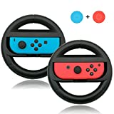 Kungber Joycon Steering Wheel (Set of 2) for Nintendo Switch Controllers with 2 Thumb Grips Cap…
