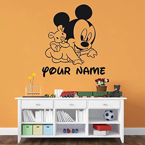 JHGJHGF Cartoon Animal Mouse Wall Stickers Camera da Letto per Bambini Baby Room Cartoon Your Name Home Decor Simpatici Adesivi murali in Vinile murale