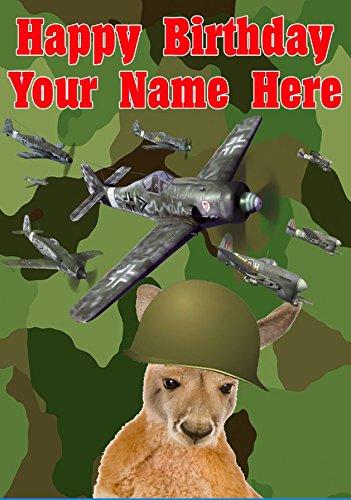 Gifts For All J201 Grußkarte, Motiv: Känguru mit Flugzeugen, A5, personalisierbar