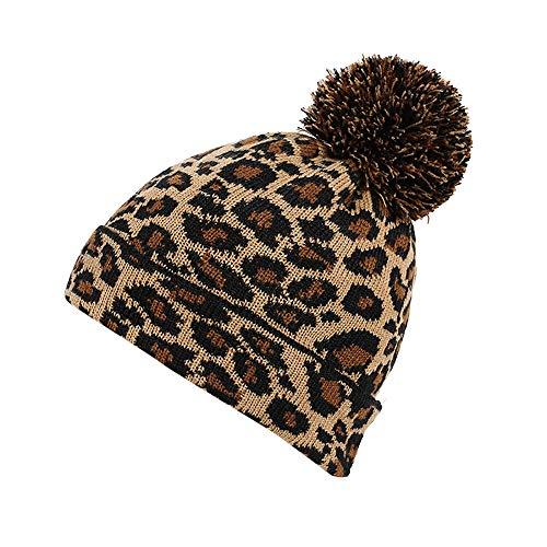 Snlaevx Damen Strickmützen Verdicken Leopard Winter Warme Bequemer Weich Wolle Stricken Hut Slouchy Plüsch Haarball Hüte Bommelmütze Wollmützen (Gelb)