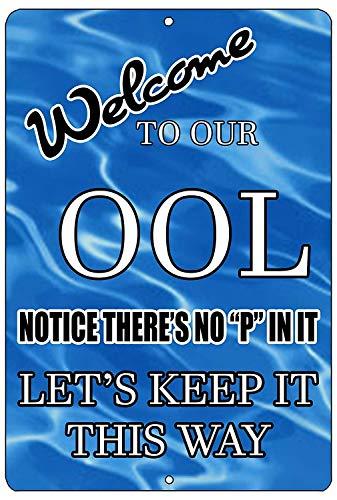 BNIST Schwimmbad No Pee in Pool OOL Swim Vintage Metallschild Warnschild Plakat Wandschild Retro Kunst Schild Use anywhere 20 x 30 cm