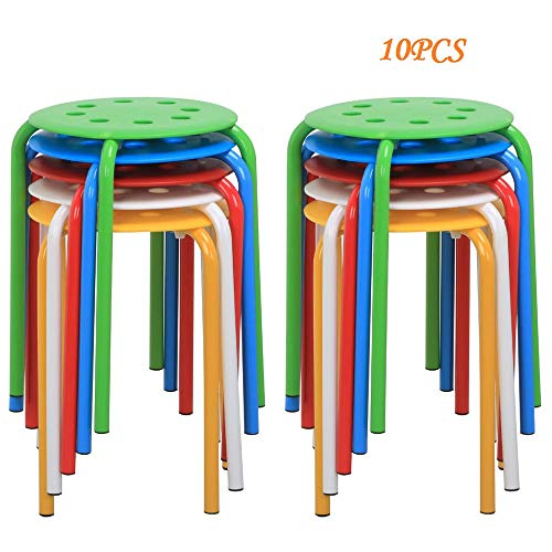 Topeakmart 10pcs Round Plastic Stack Stools Nesting Bar Stools for Kids Children Classroom Set 17.3in Height Blue/Green/Red/White/Yellow
