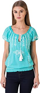 Indigo Paisley Blossom Women's 100% Cotton Blouse with Ornate Embroidery