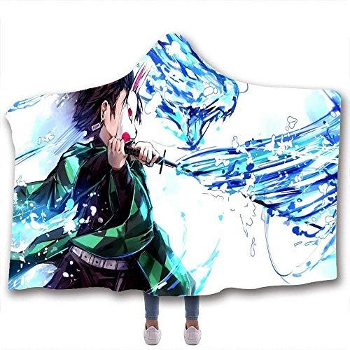 Zenghh Flanella capo del mantello del cappotto hoodies Nap 3D stampata con cappuccio Coperta, Regalo di Halloween Demone Slayer doppio strato con spessore di peluche Throwable Wearable Blanket con cap