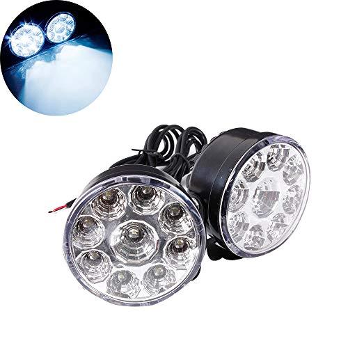 HEHEMM Lot de 2 feux de circulation diurnes ronds 12 V 4,5 W 9 LED Blanc