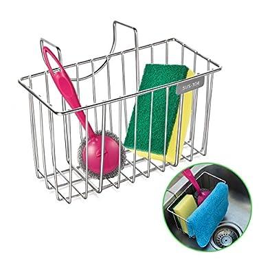 Kitchen Sponge Holder, HBlife Stainless Steel Sink Caddy Organizer Soap Dishwashing Liquid Drainer Brush Rack Holder