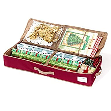 CoverMates – Premium Gift Wrap Organizer – Holds up to 15 Rolls + Accessories – 3 Year Warranty- Red