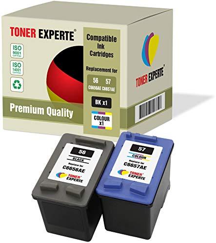 Pack de 2 XL TONER EXPERTE Cartuchos de Tinta compatibles con HP 56 HP 57 C6656AE C6657AE Photosmart 7260 7350 7450 7660 C4180 C4280 C5280 Deskjet 5150 5550 450CBi Officejet 5610 4215 (Negro, Color)