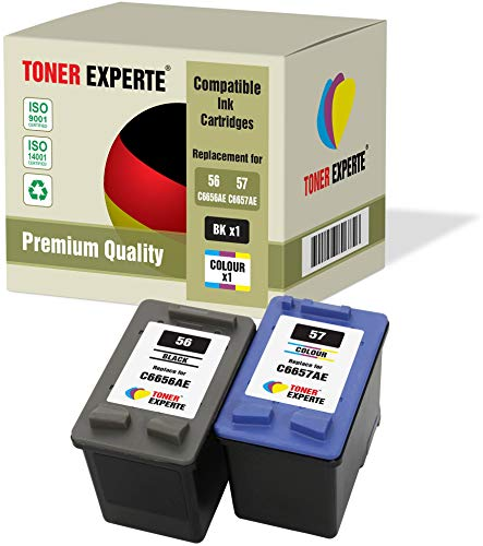 2 XL TONER EXPERTE® Druckerpatronen kompatibel für HP 56 57 Officejet 5610 4215 PSC 1210 1215 1315 2110 Photosmart 7260 7350 7450 7660 7762 7960 C4180 C4280 C5280 Deskjet 5150 5550 (Schwarz, Farbe)