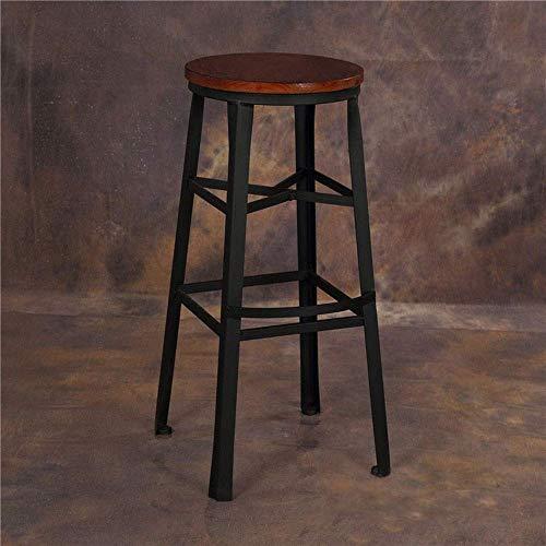 YINGGEXU Silla de comedor, taburete de bar industrial de cocina, taburete de bar con asiento de madera para bistro, cocina, personalidad, bar (color: negro, tamaño: 75 cm)