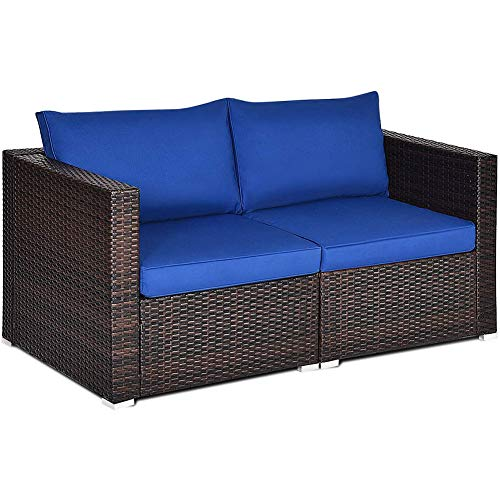 DNNAL Outdoor-Corner Sofa-Satz, Patio Rattan Sitzer-Couch, Schnittsofa Set Zusätzliche Sitzplätze für Garten Balkon Terrasse am Pool (2 Stück),Blau