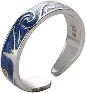 PAURO Couples Mens Stainless Steel Van Goghs Sky Ring Romantic Promise Band