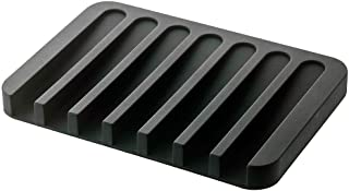 J Archer Pure Color Silicone Soap Dish Storage Bathroom Tools Soap Plate (Black)