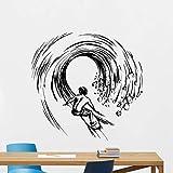 wZUN Wandaufkleber Surfer Surfen auf den Wellen Cool Sports Series Wanddekoration Wandbild 56x56cm