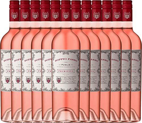 12er Weinpaket Rosé - Doppio Passo Rosato 2018 - CVCB mit VINELLO.weinausgießer | Roséwein halbtrocken | italienischer Sommerwein aus Apulien | 12 x 0,75 Liter