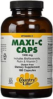 Country Life Maxi-C Caps 1000 Mg (with bioflavonoids, Rutin & Vitamin C, 180 Capsules