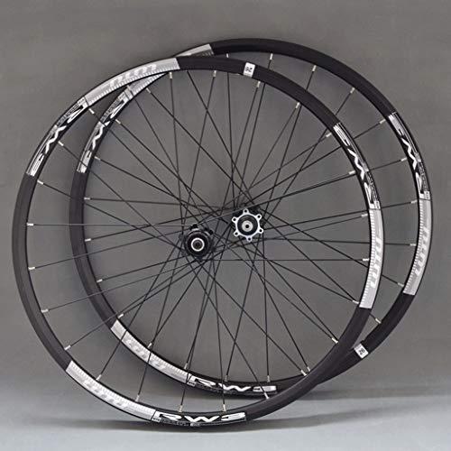 MZPWJD Ruote Ruota Bici 26'/ 27,5' per Mountain Bike Cerchio in Lega Doppia Parete Freno Disco 9-11 velocità Card Hub Cuscinetto Sigillato QR 24H (Color : Gray, Size : 27.5')
