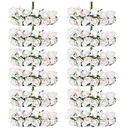 144pcs Ramo Rosa Artificial Flor Papel Decoración para Hogar Boda (blanco)