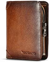 Men Wallet Zipper Genuine Leather Purse Vintage Cowhide Zip Coin Pocket Short Purse Brown(anti-theft brush)…