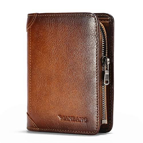 Men Wallet Zipper Genuine Leather Purse Vintage Cowhide Zip Coin Pocket Short Purse Brown( anti-theft brush)
