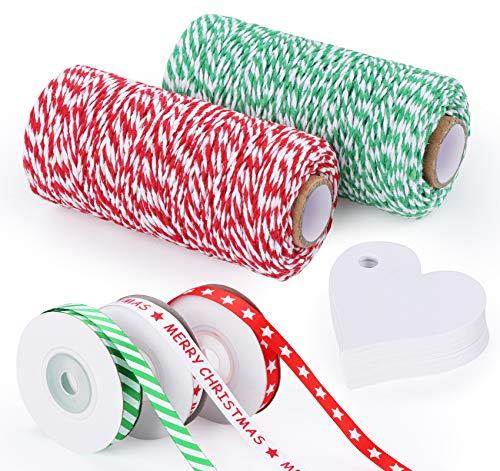 Sweelov 200m Bäcker Schnur mit 30m Weihnachtsbänder, Bäcker Twine Baumwolle Bindfäden Rot und Grün, Satinband Geschenkband für Weihnachten Geschenkverpackung
