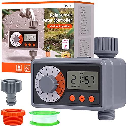 Lanlelin Riego Automatico Programador, Jardín Temporizador Hay 2 Adaptador y 1 Cinta de Agua, Función de Sensor de Lluvia y Función de Protección de Corriente Débil.