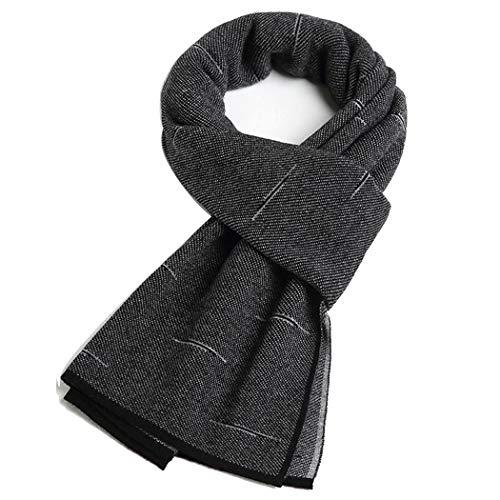 YONGYONG-scarf Wollstrick Männer Britischen Schal Einfache Wolle Schal Männer Mittleren Alters Schurwolle Schal Geschenkbox 175 cm (Color : Black)