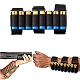 HWZ 8 Rounds Gun Ammo Storage Shotgun Shell Holder Adjustable Shooters Forearm Or Tactical Buttstock Sleeve Magazine Pouch (Black)
