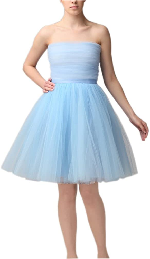 Lisong Women's Knee Length Pleated Layered Tutu Tulle Party Skirt