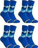gigando - Qualitäts Socken für Herren 4 | 8 Paar – kariertes buntes Motiv, modisches Design mit Muster für Anzug, Business und Freizeit - Baumwolle