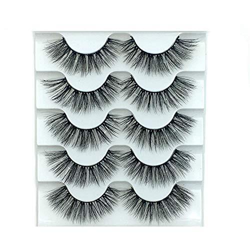 Dragonface 5 Paare 3D Künstliche Eyelasehs Frauen-Mode handgemachte mehrschichtige natürliche lange falsche Wimpern 3d Fluffy Strip False Eyelashes(6D-014)