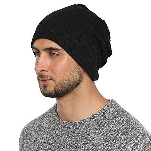 DonDon Bonnet hommes toute saison jersey bonnet Slouch Beanie respirant et doux s'adaptant à toutes les tailles de tête - Noir
