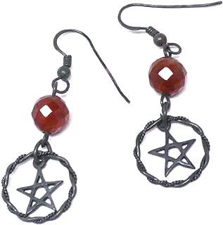 Oxidized Sterling Silver Pentagram Earrings Faceted Carnelian