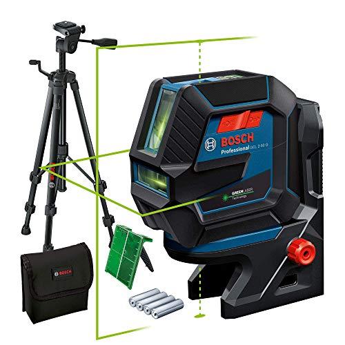 Bosch Professional Livella Laser GCL 2-50 G (laser verde, supporto RM 10, treppiedi BT 150, raggio d\'azione visibile: fino a 15 m, 4x batterie AA, confezione in cartone)