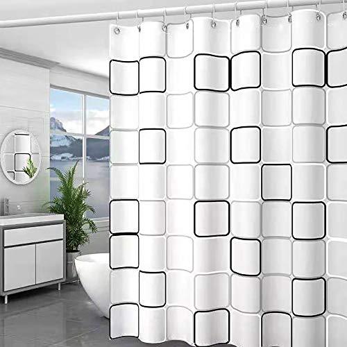 Sosila Duschvorhang Textil Anti-Schimmel Waschbar Stoff wasserdicht Schimmelresistent Wasserabweisend Anti-Bakteriell 100prozent Polyester inklusive Ringe Duschvorhanghaken (180 x 200 cm)